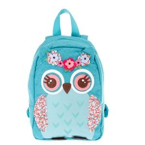New Claire's Backpack owl with crown of flowers